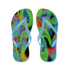 Neon Paisley Flip Flops