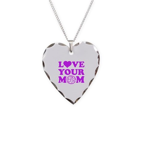 Love your Mom Necklace Heart Charm
