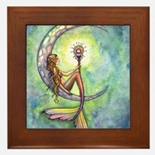 Mermaid Moon Fantasy Art Framed Tile
