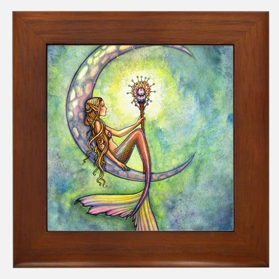 Mermaid Moon Fantasy Art Framed Tile