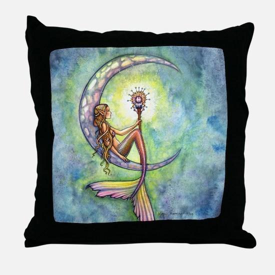 Mermaid Moon Fantasy Art Throw Pillow