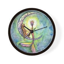 Mermaid Moon Fantasy Art Wall Clock