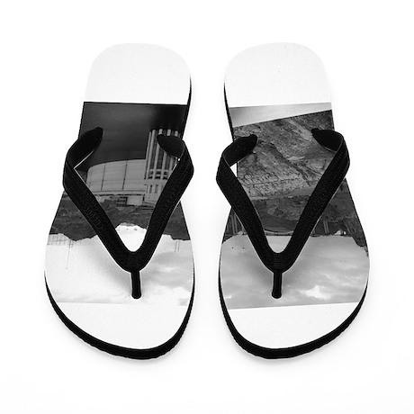 Hoover Dam-Black & White Flip Flops