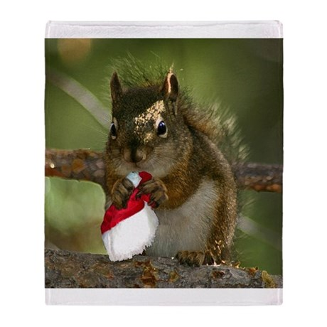 Squirrel Christmas Throw Blanket