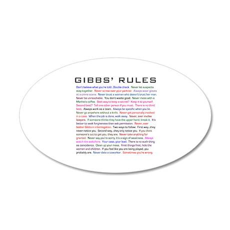 NCIS Gibbs' Rules 38.5 x 24.5 Oval Wall Peel