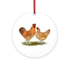 Lincolnshire Buff Chickens Ornament (Round)