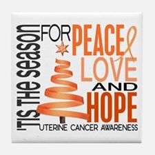 Christmas 1 Uterine Cancer Tile Coaster