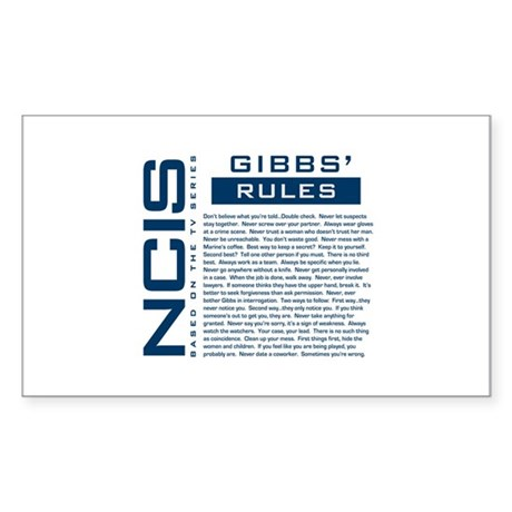 NCIS Gibbs' Rules Sticker (Rectangle 50 pk)