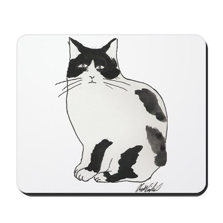 New Black and white cat Mousepad