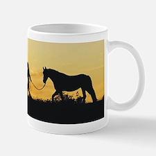 Girl and Horse at Sunset Small Small Mug