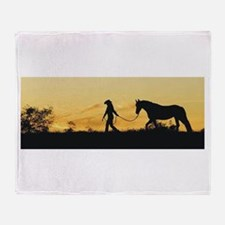 Girl and Horse at Sunset Throw Blanket