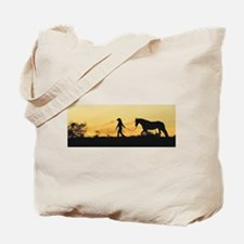 Girl and Horse at Sunset Tote Bag
