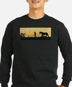 Girl and Horse at Sunset T