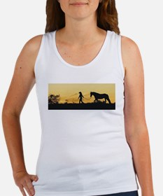 Girl and Horse at Sunset Women's Tank Top