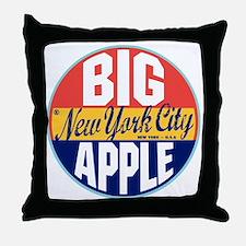 New York Vintage Label Throw Pillow