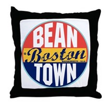 Boston Vintage Label Throw Pillow