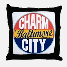 Baltimore Vintage Label Throw Pillow