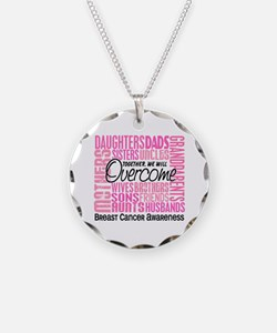 Family Square Breast Cancer Necklace