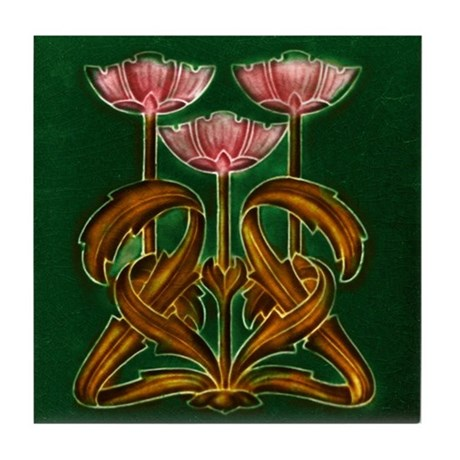 Three Pink Flowers Tile Coaster