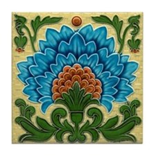 Peacock Blue Flower Tile Coaster
