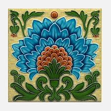 Peacock Blue Flower Tile Coaster