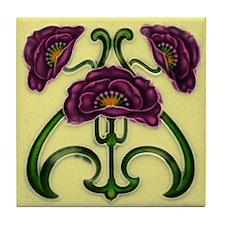 Red Violet Flower Tile Coaster
