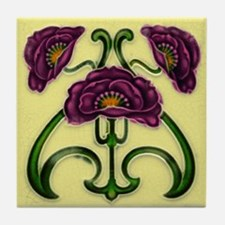 Red Violet Flower Tile Coaster