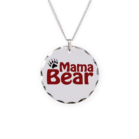 Mama Bear Claw Necklace Circle Charm