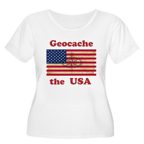 Geocache the USA Women's Plus Size Scoop Neck T