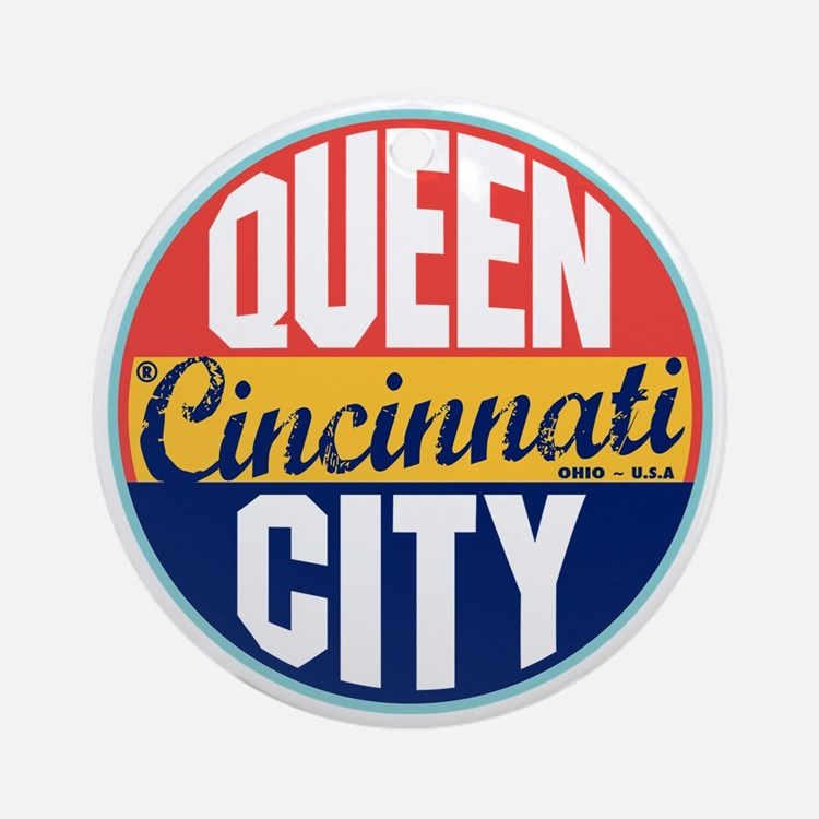 Cincinnati Vintage Label Ornament (Round)