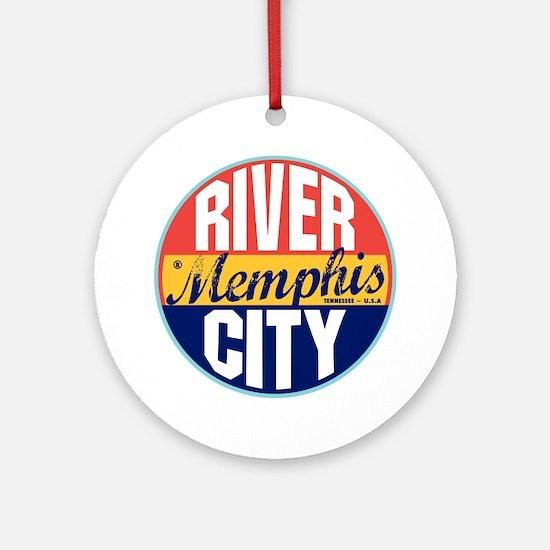 Memphis Vintage Label Ornament (Round)