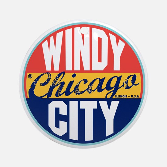Chicago Vintage Label Ornament (Round)