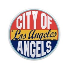 Los Angeles Vintage Label Ornament (Round)