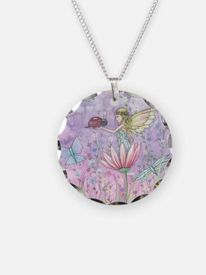 Cute Little Fairy Necklace Circle Charm