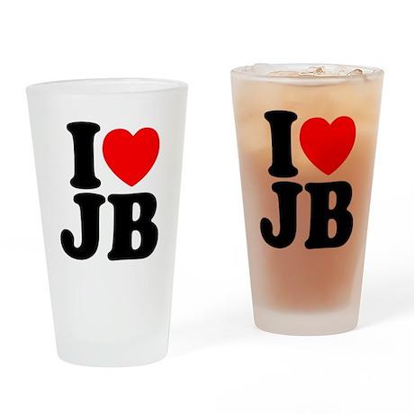 I LOVE JB Drinking Glass