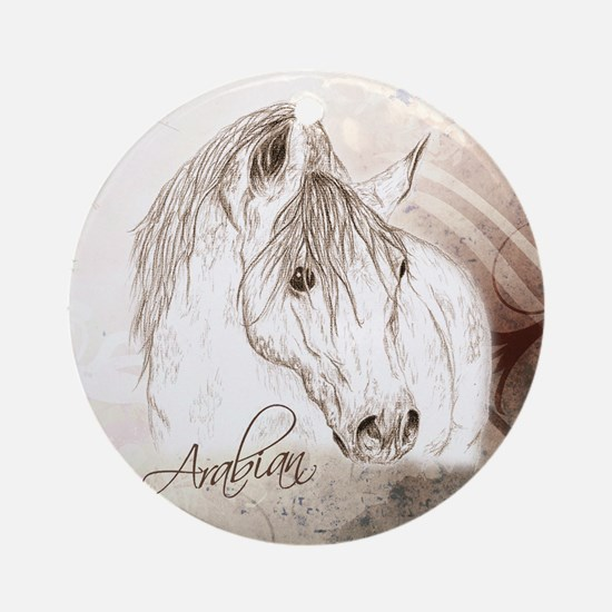 Grey Arabian Stallion Ornament (Round)