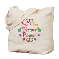 Peace Love Flower Power Tote Bag