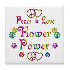 Peace Love Flower Power Tile Coaster