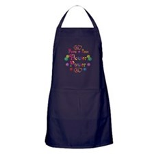 Peace Love Flower Power Apron (dark)