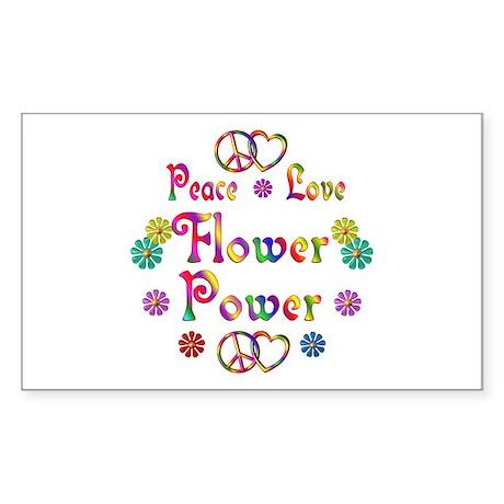 Peace Love Flower Power Sticker (Rectangle)