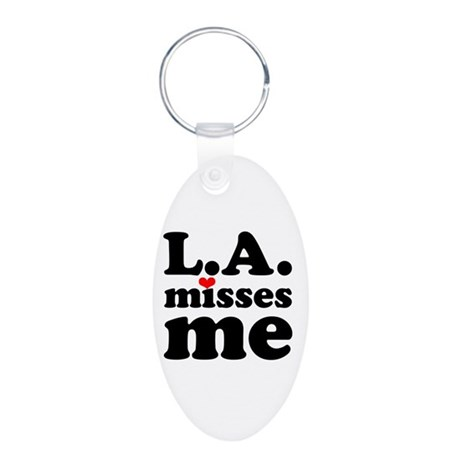 LA Misses Me Aluminum Oval Keychain