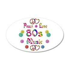 Peace Love 80s Music 22x14 Oval Wall Peel
