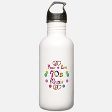 Peace Love 70s Music Water Bottle