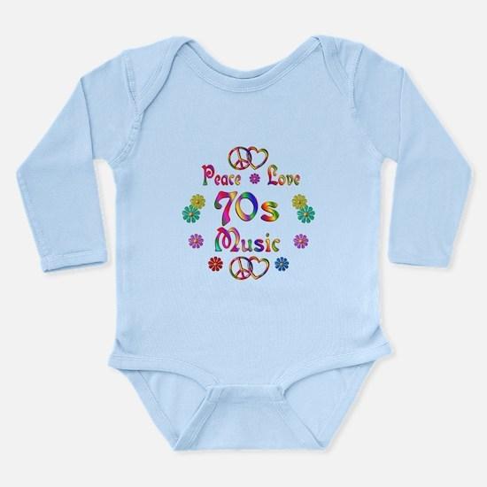 Peace Love 70s Music Long Sleeve Infant Bodysuit