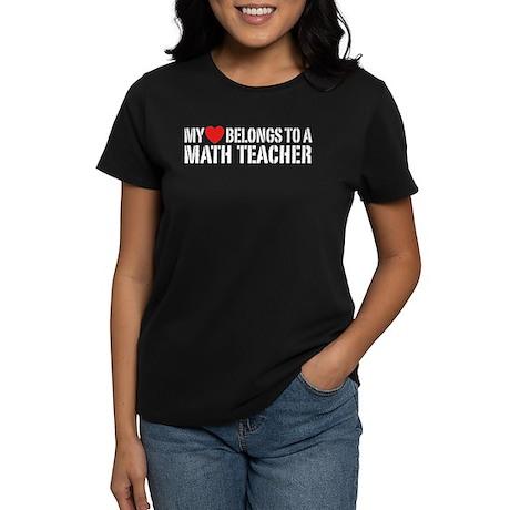 My Heart Math Teacher Women's Dark T-Shirt