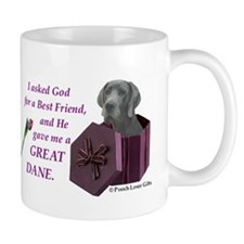 I Asked God -Shirt -GreatDane,Blue Mugs