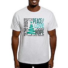 Christmas 1 Ovarian Cancer T-Shirt