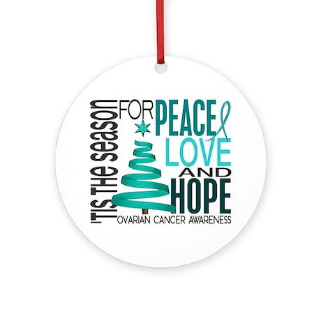 Christmas 1 Ovarian Cancer Ornament (Round)