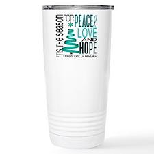 Christmas 1 Ovarian Cancer Travel Mug