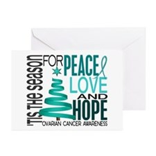 Christmas 1 Ovarian Cancer Greeting Cards (Pk of 2